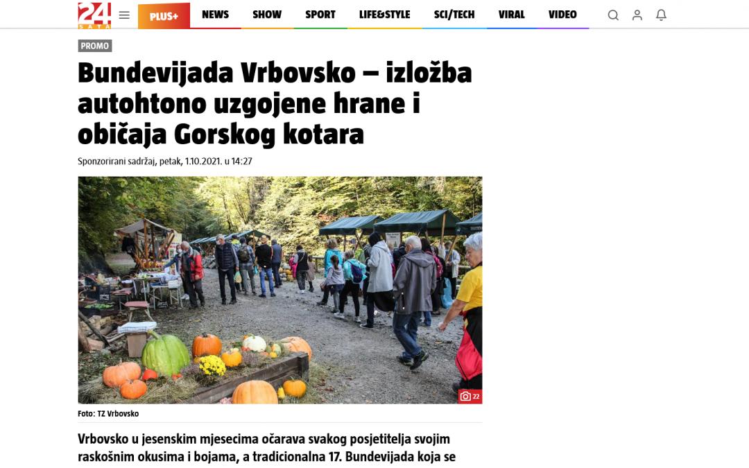 Članak 24.sata.hr – Bundevijada Vrbovsko – izložba autohtono uzgojene hrane i običaja Gorskog kotara