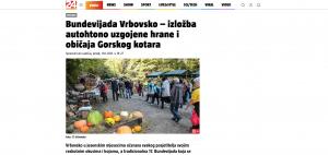 Članak 24.sata.hr -Bundevijada Vrbovsko – izložba autohtono uzgojene hrane i običaja Gorskog kotara, 01.10.2021. godine
