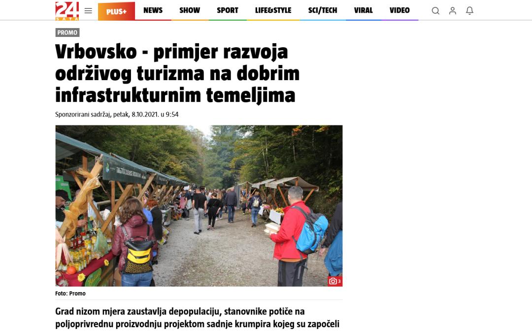 Članak 24.sata.hr -Vrbovsko – primjer razvoja održivog turizma na dobrim infrastrukturnim temeljima,08.10.2021. godine