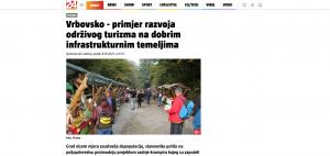 Članak 24.sata.hr -Vrbovsko - primjer razvoja održivog turizma na dobrim infrastrukturnim temeljima,08.10.2021. godine